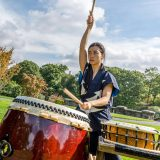 Photo of a Taiko drummer in the Steinhardt maple collection