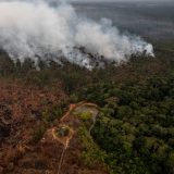 Smoke rises as fires burn in the Amazon rainforest near Porto Velho, the capital city of RondÙnia, Brazil, on Monday, Aug. 26, 2019. (Victor Moriyama/The New York Times)