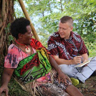 Photo of David Harrison recording languages in Vanuatu