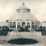 Historic sepia image of Conservatory palm dome