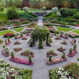 An aerial view of the Peggy Rockefeller Rose Garden centered on its pergola.