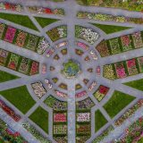 An aerial view of the Peggy Rockefeller Rose Garden, showing its various paths and beds of roses.