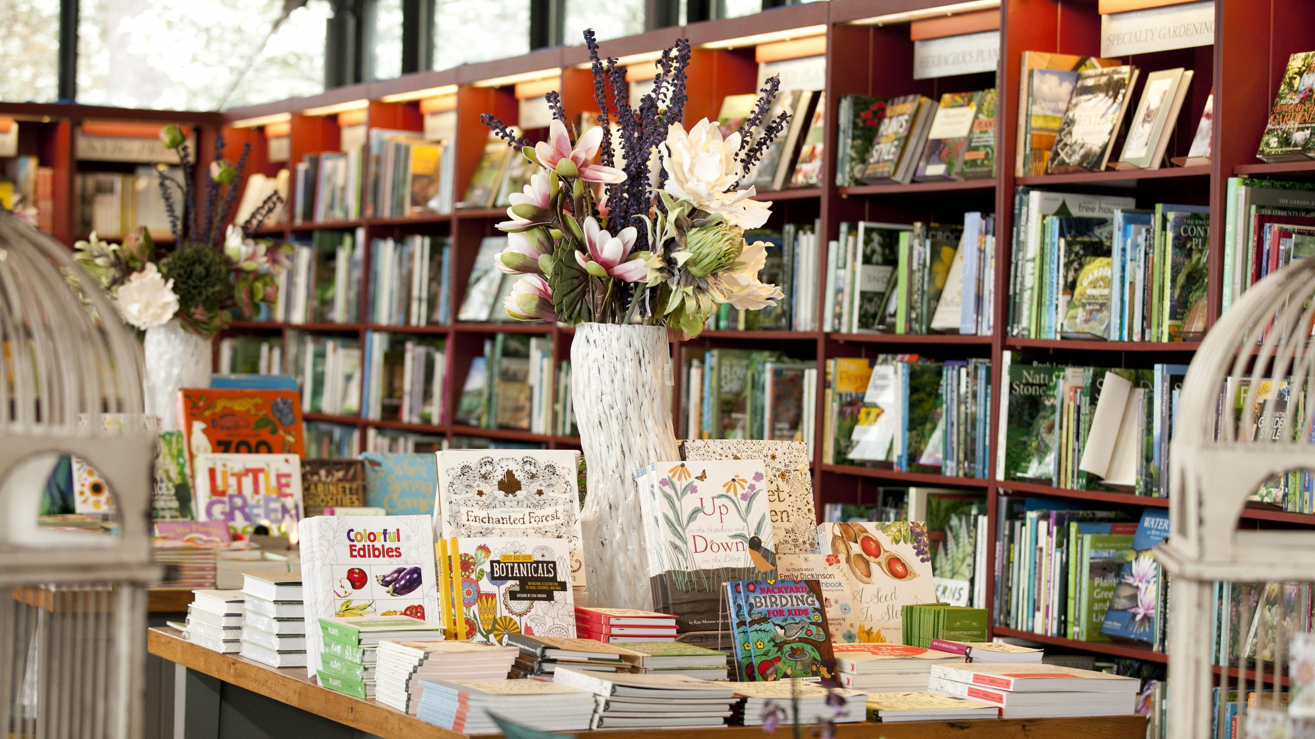 Photo of books and gifts in NYBG Shop