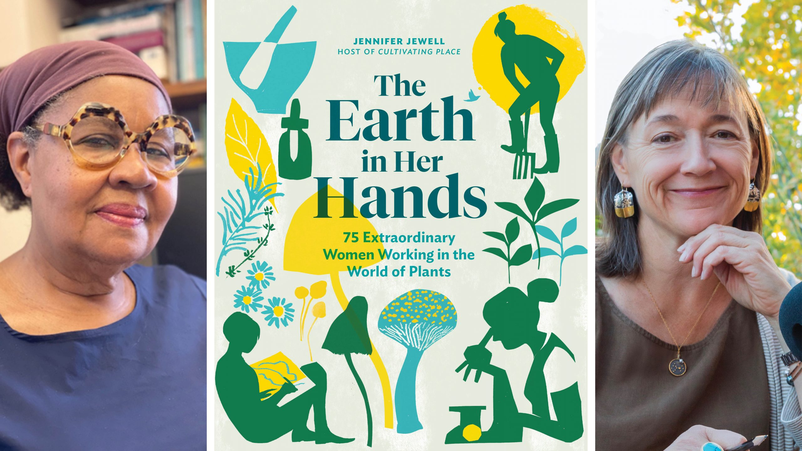 Jamaica Kincaid headshot, with The Earth in Her Hands book cover, and Jennifer Jewell headshot