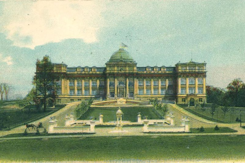 Postcard depicting the Library Building and Allee ca. 1904