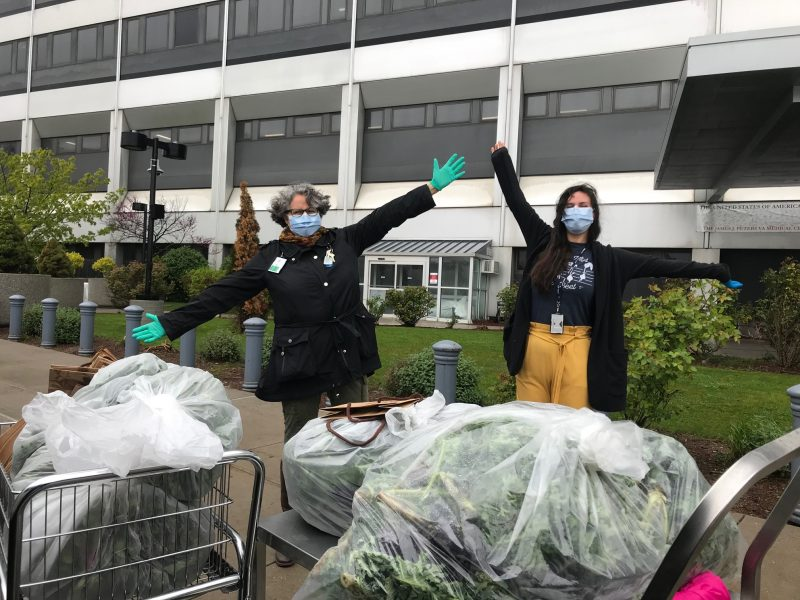 Photo of VA center staff receiving vegetables