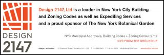 Design 2147 logo with message Design 2147, Ltd. is leader in New York City Building and Zoning codes as well as expediting services and a spring sponsor of The New York Botanical Garden