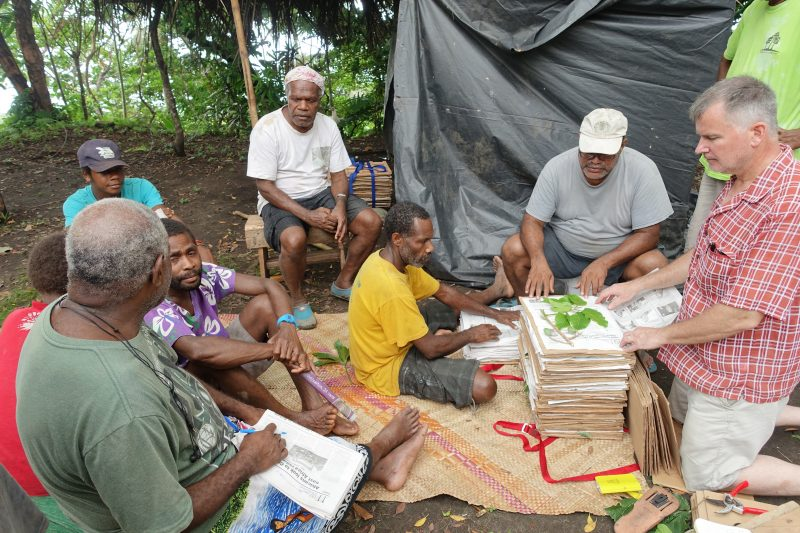 Dr. Gregory Plunkett presses plants with villagers on Tanna island, Vanuatu.