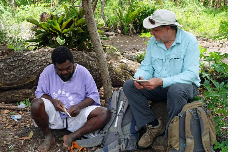 Dr. Michael Balick learns about uses of local plants from Ruben Neriam on Aneityum island, Vanuatu.