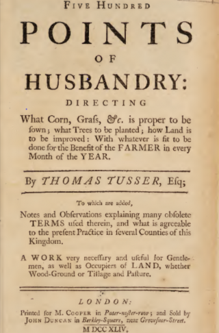 Photo of the title page of Five Hundred Points of Husbandry