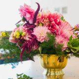 Floral arrangement with pink dahlias