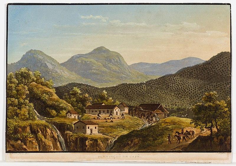Painting of a mountainous landscape