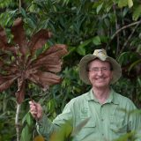 Photo of Thomas Lovejoy holding a leaf in the forest