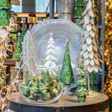 arrangement of holiday trees in NYBG Shop