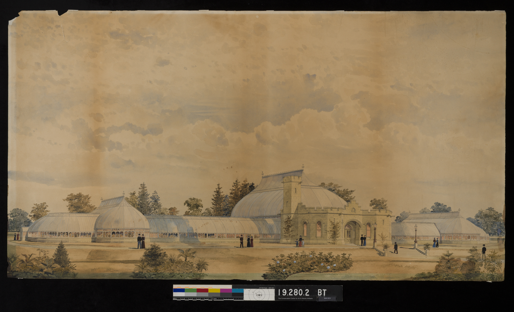Watercolor painting of an early draft of the NYBG Conservatory