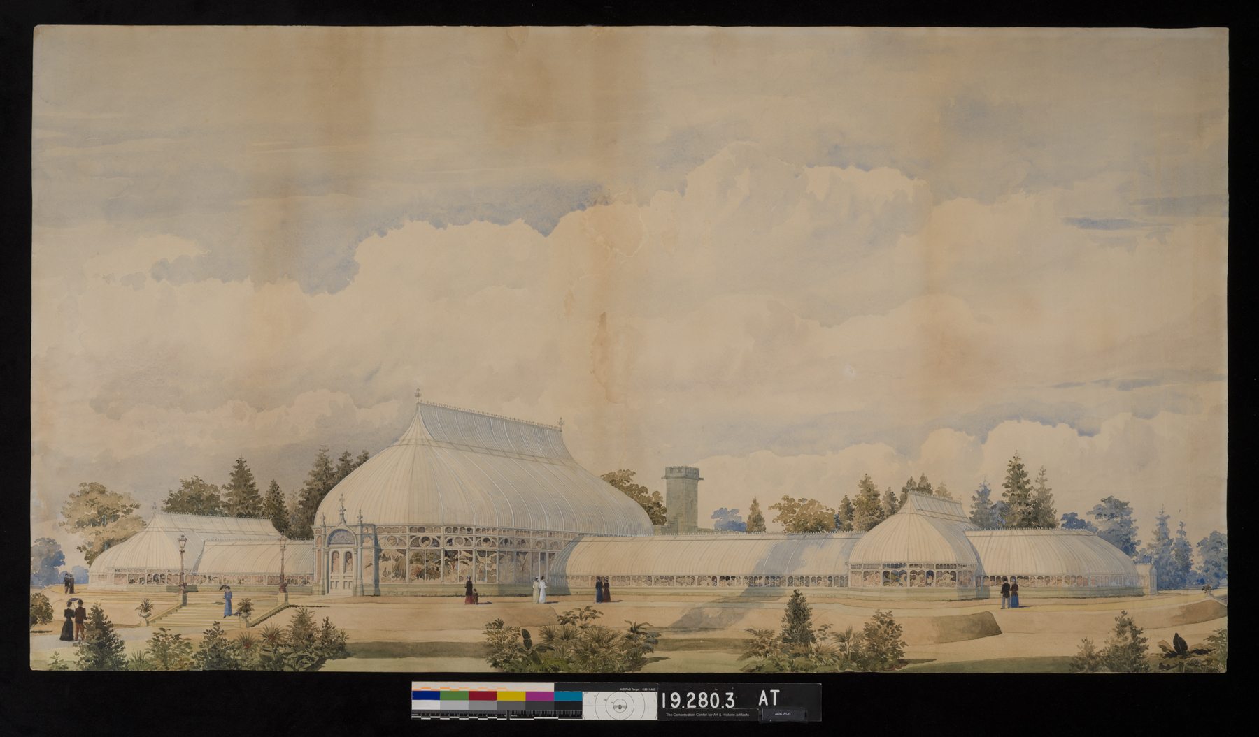 Watercolor of an early draft of the NYBG Conservatory after restoration