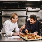 Dan Barber and Michael Mazourek in a kitchen