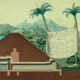 Illustration of a Mopox canal house with an inscription