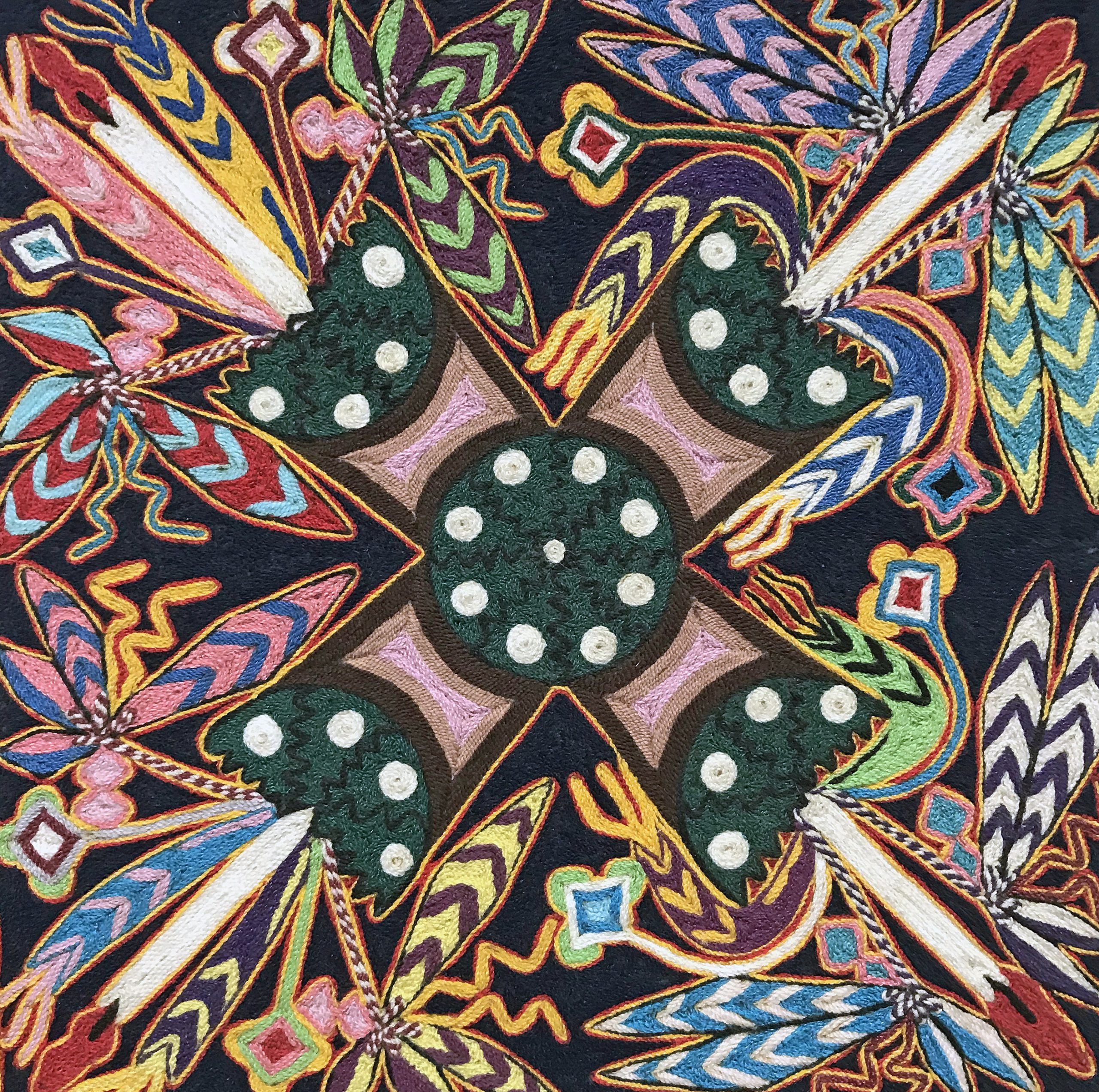 Huichol Yarn Pinting Carlson PS: A Huichol Indian yarn painting of the sacred peyote cactus, Lophophora williamsii. Note the richness of the colors that appear in the painting, which offers a sense of the visions seen during the ritual use of peyote.
