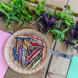 Crayons in a woven basket on a wooden table