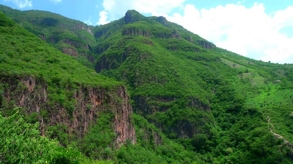 Photo of tall green mountains with interspersed cliffs of red rock