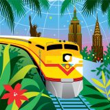 An illustration of the holiday train show featuring a yellow train driving in the Conservatory across the empire state building, chrysler building, and one world trade center, surrounded by plants.