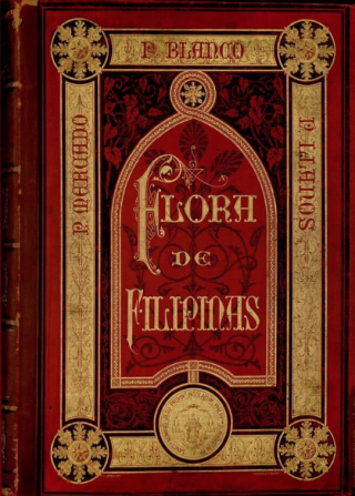 Scan of the original cover of Flora de Filipinas, an elaborate design featurig an inlaid red bell jar surrounded by gold-foil borders and stars