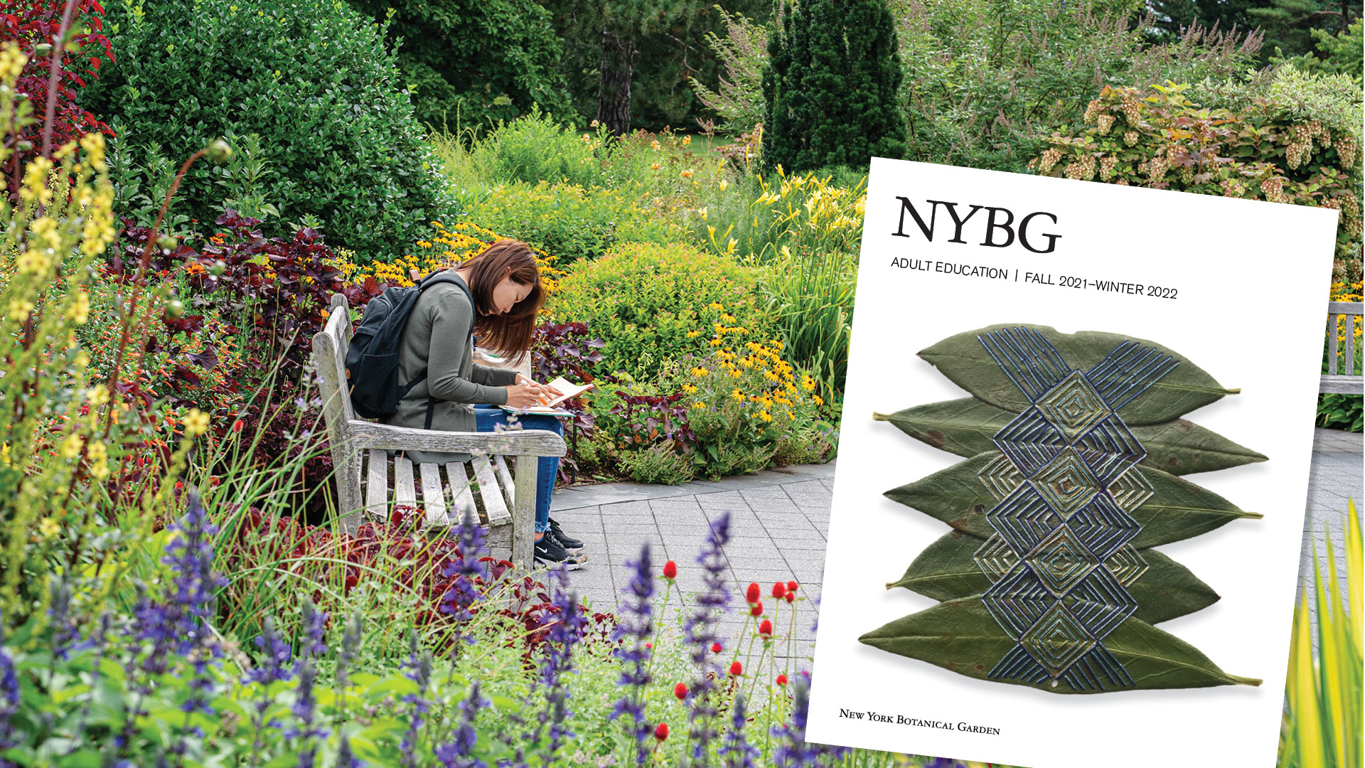 An image of a catalog cover featuring embroidered designs on leaves is superimposed on another image of a visitor examines a handful of papers while seated on a bench among bushes and a variety of flowers.
