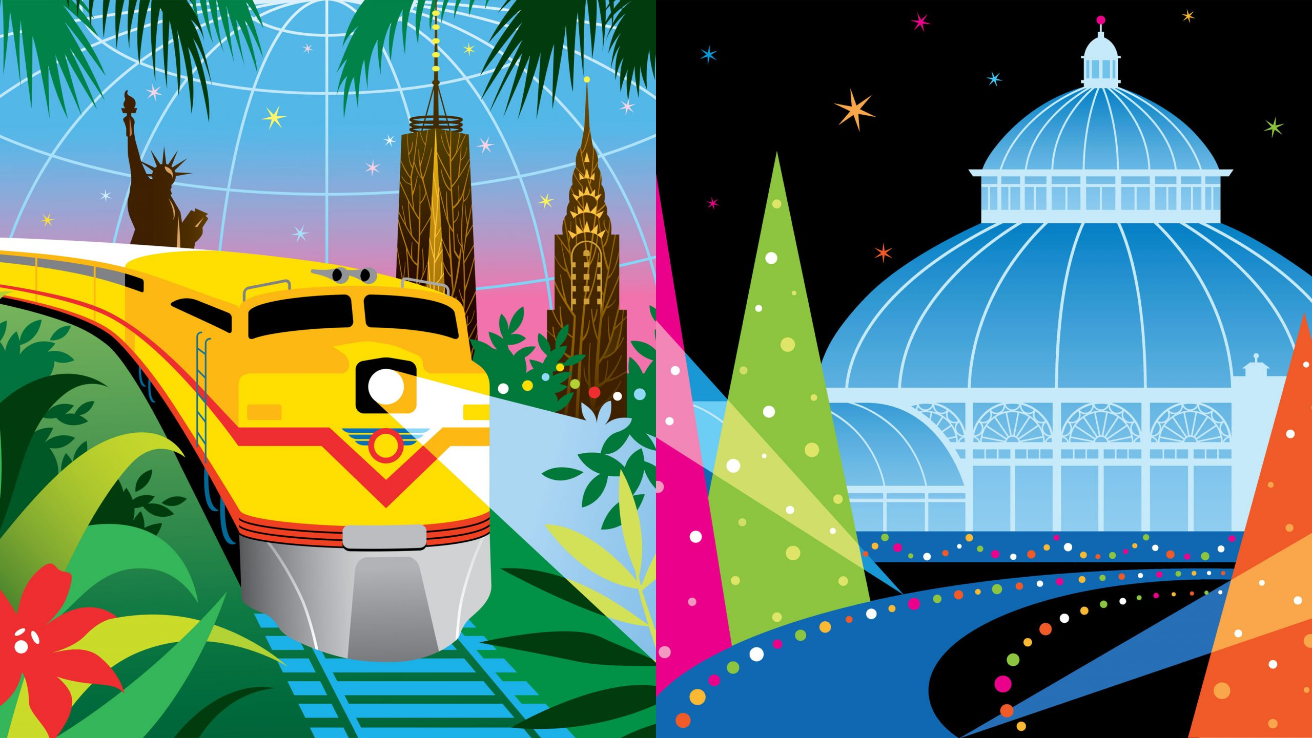 Graphic illustration of Holiday Train Show and Glow advertising - with a stylized yellow and red train in a glasshouse and green leaves, with brown buildings, next to a blue conservatory with black background and electric pink, green, and orange trangle shape trees.
