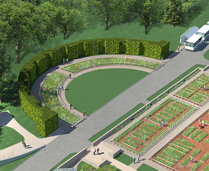 The semi-circular Event Lawn, a site for special events and the general enjoyment of our visitors, will be surrounded by glorious vegetable display gardens, full of seasonal plantings.
