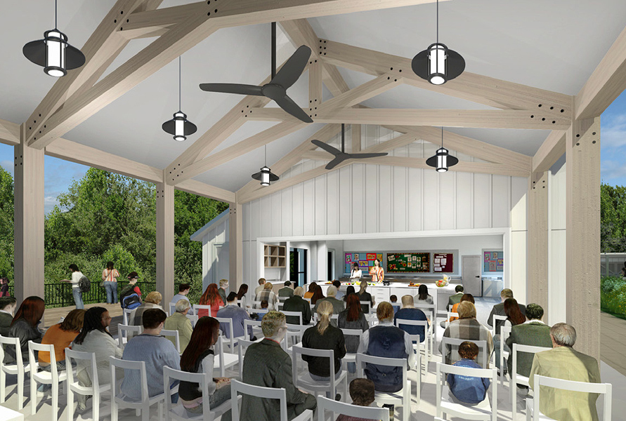 The Overlook Pavilion, creating a front porch for the Edible Academy with a deck overlooking the Bronx River, will accommodate educational programs, cooking demonstrations in the adjacent smart classroom, and seated outdoor dinners.