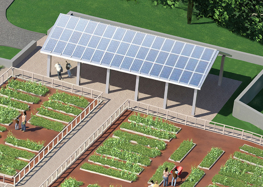 A free-standing Solar Pavilion located at the southern end of the Family Garden, and next to the planting areas, will provide a comfortable shaded gathering space for school lunch, special programs, and classes. Solar panels on the roof of the pavilion will capture energy to help power the facility and offset our energy usage.