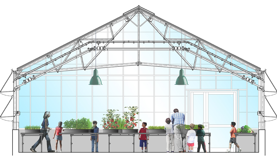 Connected to the classrooms and with maximum sun exposure, along with temperature control and a shading system, the Teaching Greenhouse will serve as a potting and propagation area as well as a child-friendly teaching space.