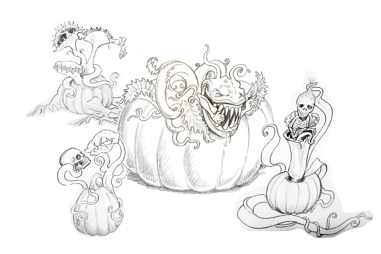 Master Carver Ray Villafane's concept drawing for the 2013 Giant Pumpkin Carving Weekend display