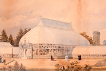 <b>Architectural Structures Embellish Gardens; Greenhouses offer the enjoyment of  Tropical Plants</b><br />Design Proposal by Lord and Burnham for the Conservatory in The New York Botanical Garden in 1899...