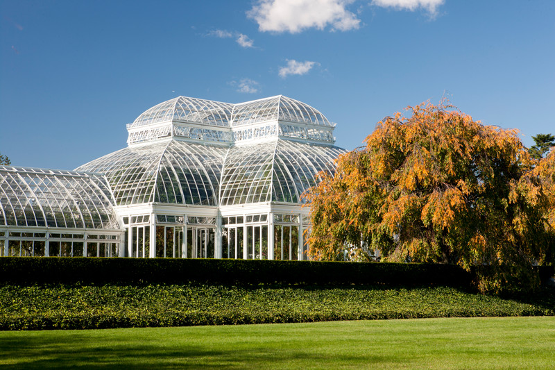 <b>Architectural Structures Embellish Gardens; Greenhouses offer the enjoyment of  Tropical Plants </b><br />...and  what it  looks like today.  (photo by Ivo M. Vermeulen)