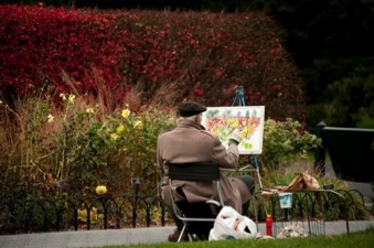 <b>The New York Botanical Garden's  Green Spaces have always inspired Artists </b><br />Painting the Seasonal Walk (photo by Ivo M. Vermeulen)